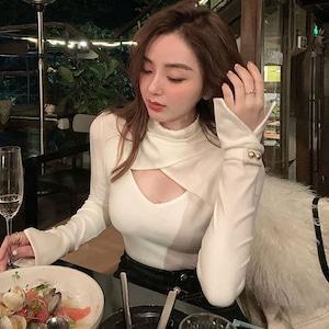 【トップス】韓国系個性的なデザイン切り替え透かし彫りニットセーター52631748