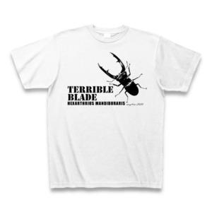 マンディブラリスフタマタクワガタ Tシャツ -maylime- オリジナルデザイン ホワイト