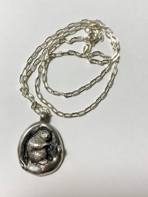 Vintage Beaver Sterling Pendant Necklace