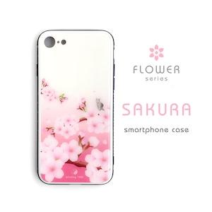桜 ハードiPhoneケース(強化ガラス)*木のぼり猫とメジロ*