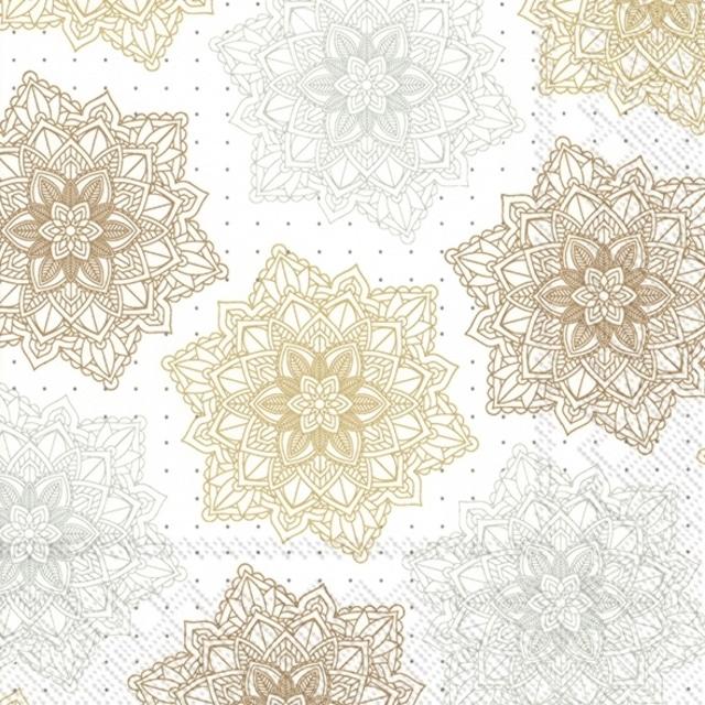 2021秋冬【IHR】バラ売り2枚 ランチサイズ ペーパーナプキン ORNAMENT ホワイトxゴールド