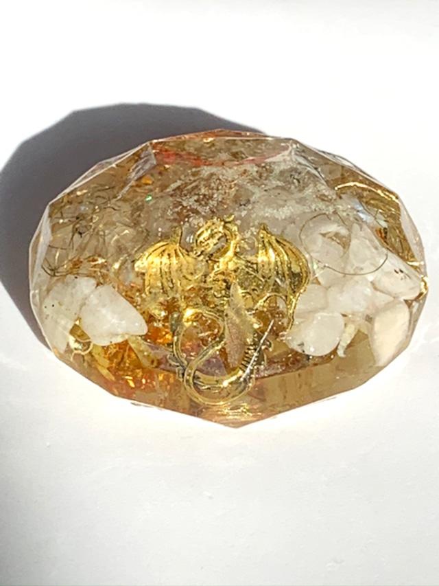 ダイヤモンドカット~金の龍~【ラブラドライト・シトリン・水晶】高いヒーリング効果 ・転職・就職・金運・財運アップ♪