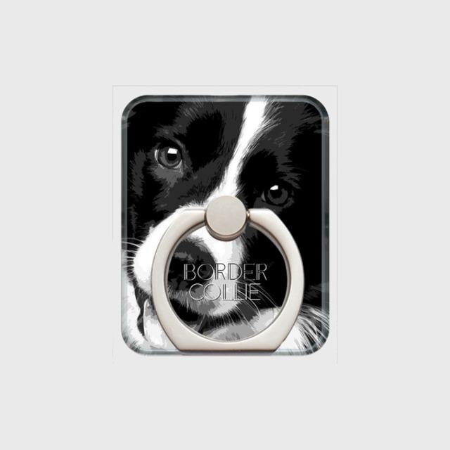 ボーダーコリー おしゃれな犬スマホリング【IMPACT -shirokuro- 】