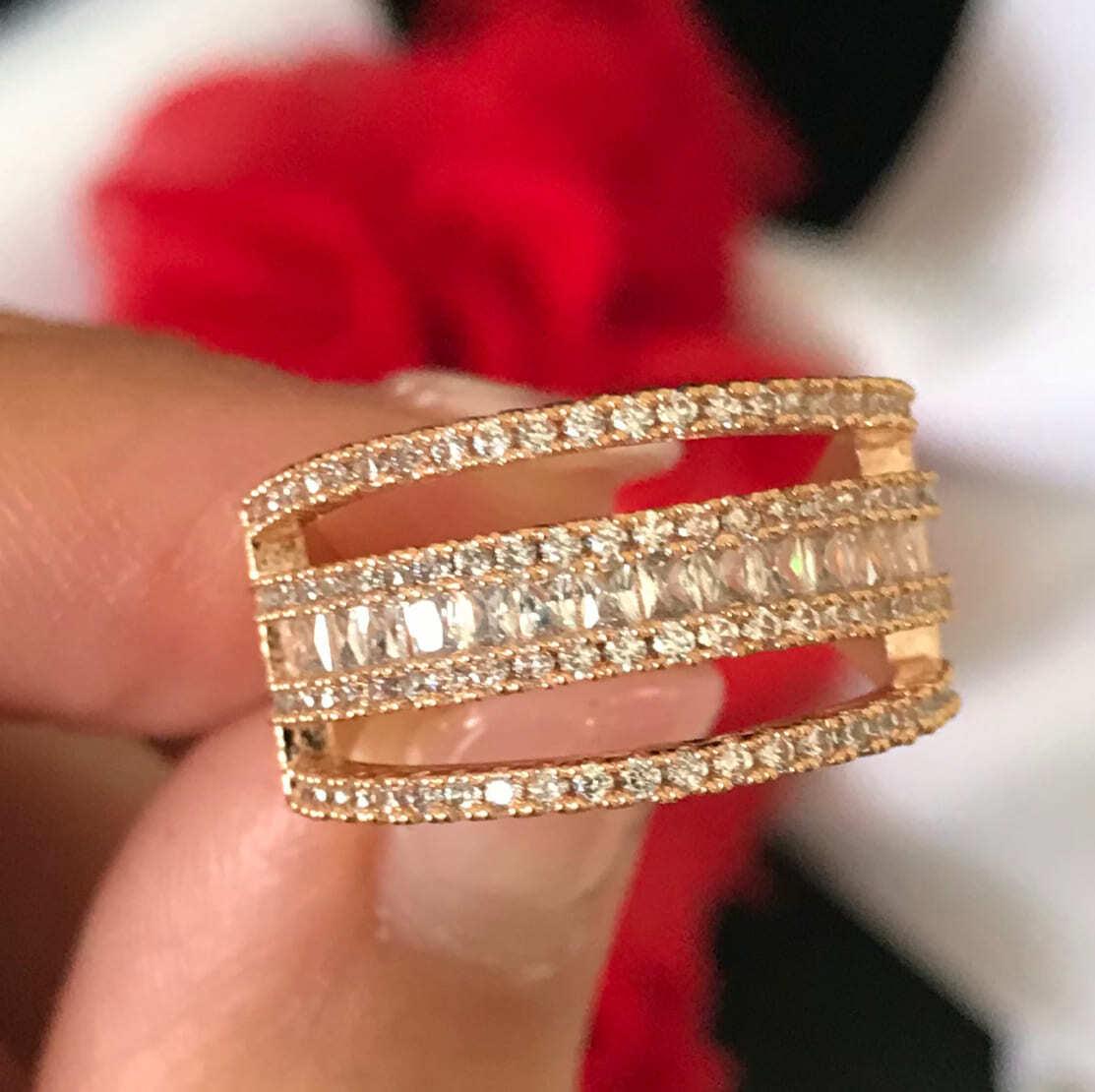 D023 繊細ライン ローズゴールド キュービック レディース 指輪