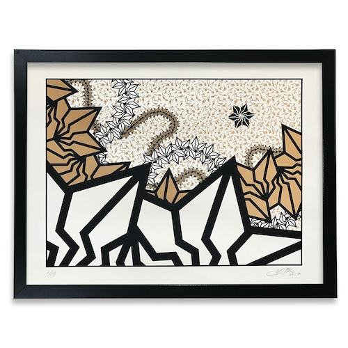 "BAKIBAKI screen print ""Gold River"" (with Frame)"