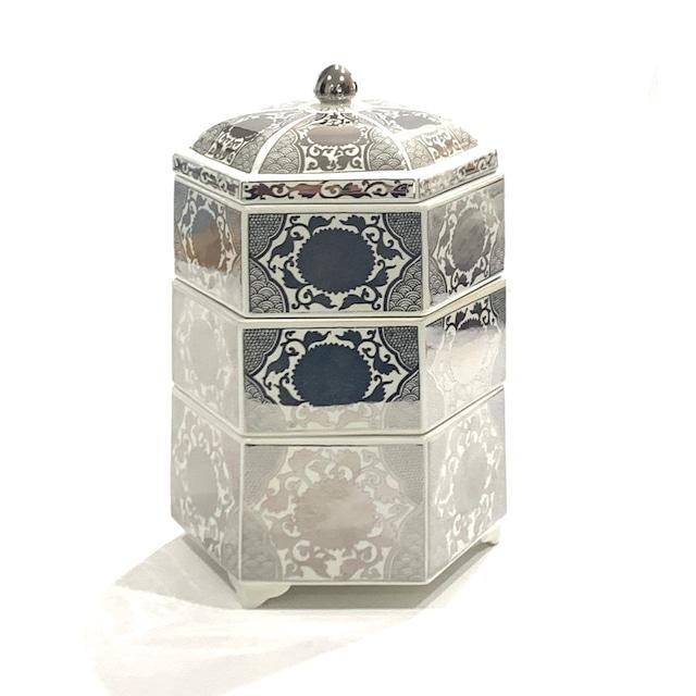 銀彩菊花紋 六角三段重