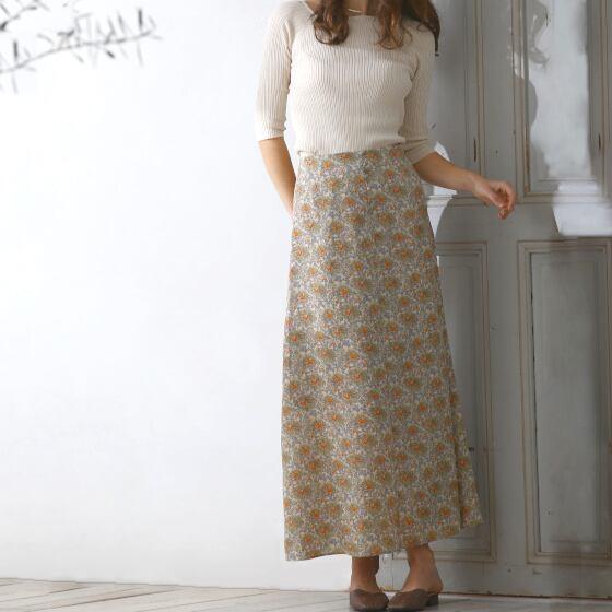 【 calmoo 】- 02-010402 - Aラインフラワースカート