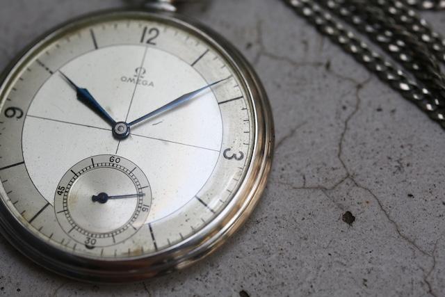 【OMEGA】1930's オメガ 懐中時計 セクターダイヤル フルステンレス  飛びアラビア数字 手巻き OH / vintagewatch /  / pocket watch / hand winding