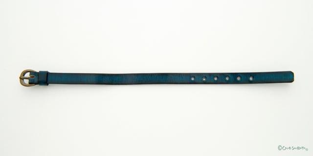 木版染革ベルト青色S