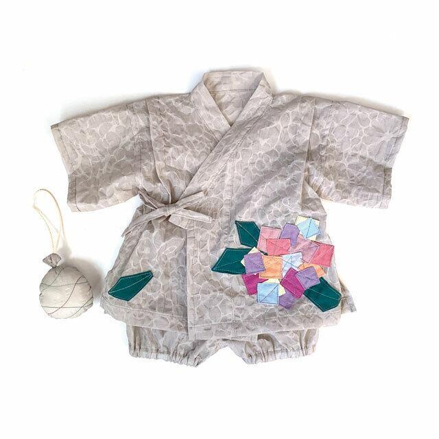 赤ちゃんじんべい パールグレー × 紫陽花