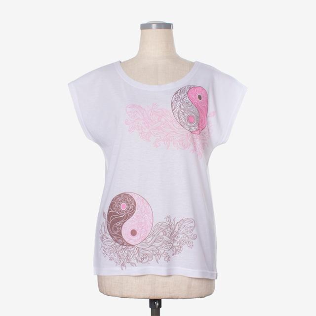 ヨガプリントTシャツ 陰陽1 Yoga print T-shirt Ying Yang1