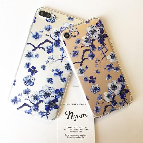 【iphone7/7plus】ブルーフラワー柄iphoneケース 花柄