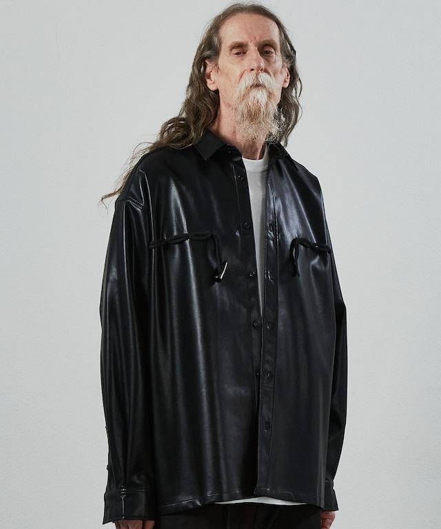 【 last2 】UNSELD leather duffle shirt Black