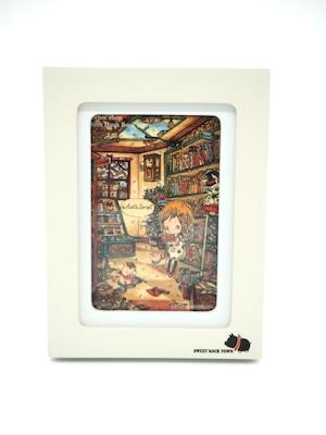 ミニ額縁に入れる絵 「街角の本屋」
