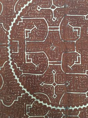 泥付き布 中型90x150 特別サイズ 円 シピボ族 アマゾンの泥染め