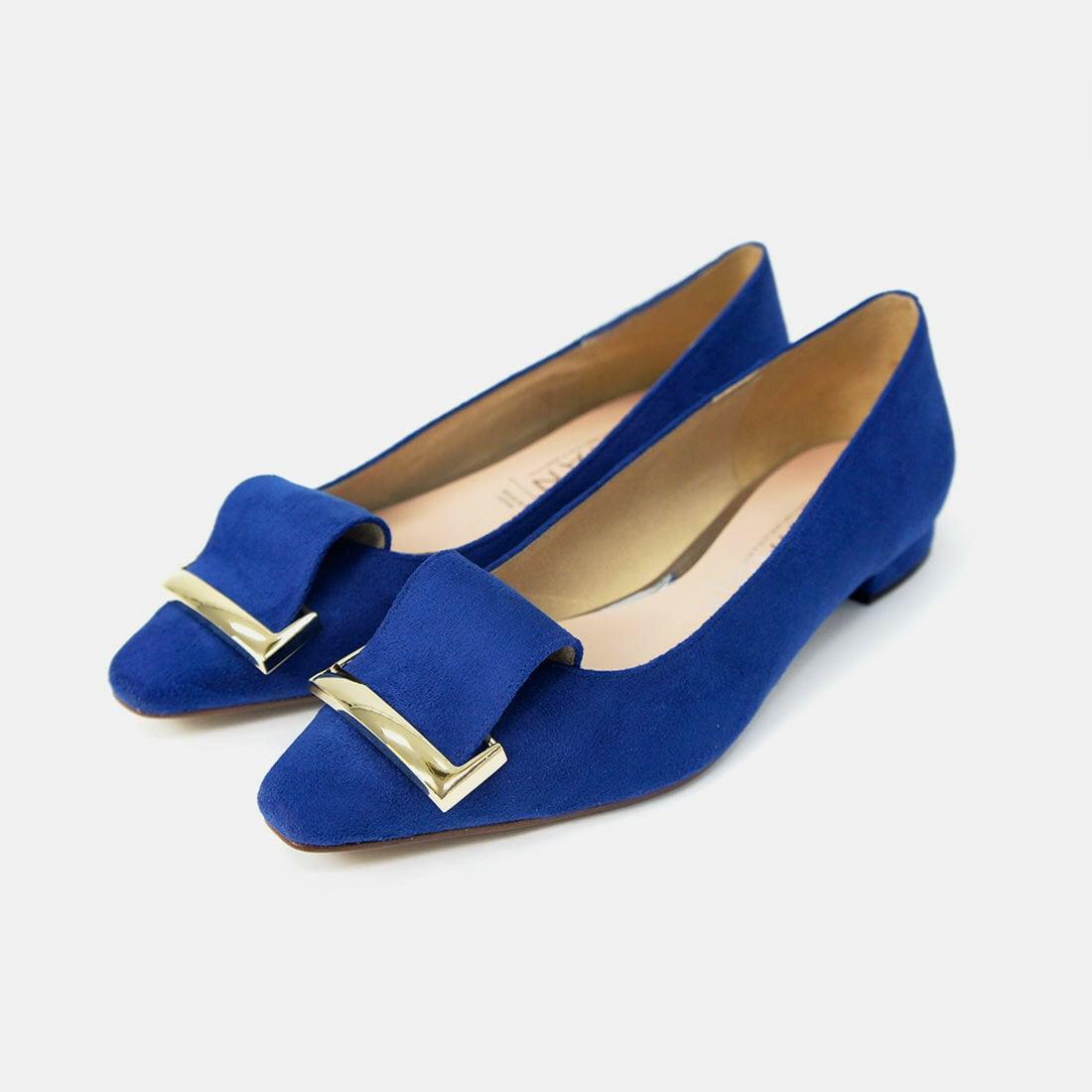 リボンバックル付き スクエアトゥ フラットシューズ:ブルーS 23.0cm (BA041FL)