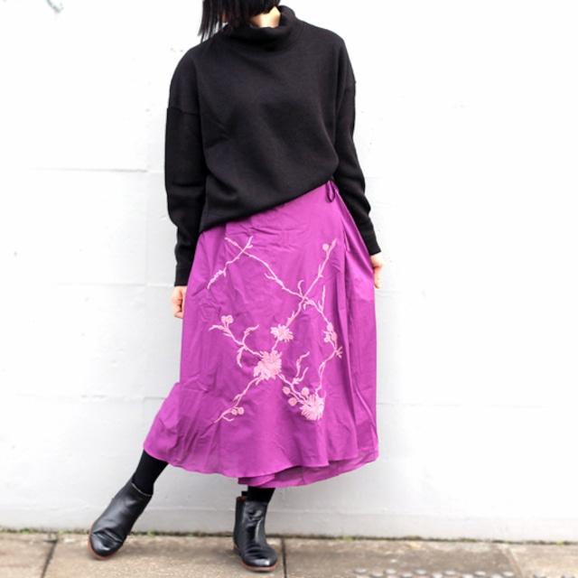SALE★手刺繍のコットンラップスカート【オーキッドパープル】