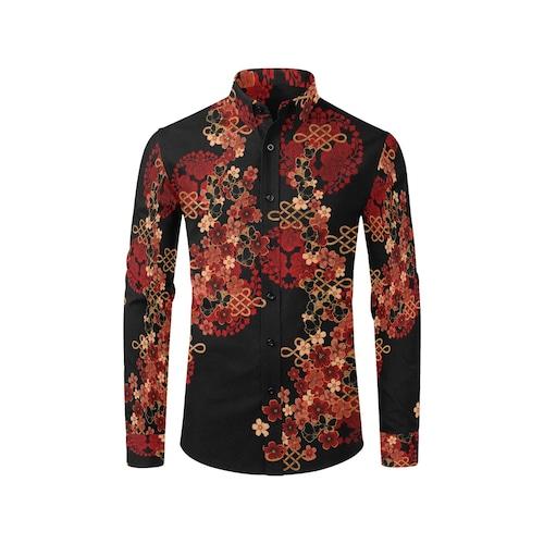 桜蝶家紋 メンズサイズ長袖シャツ