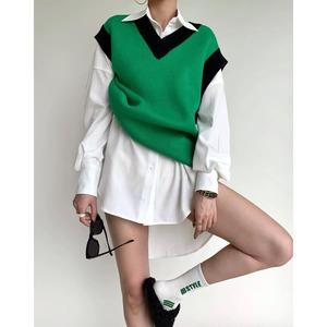green v neck vest