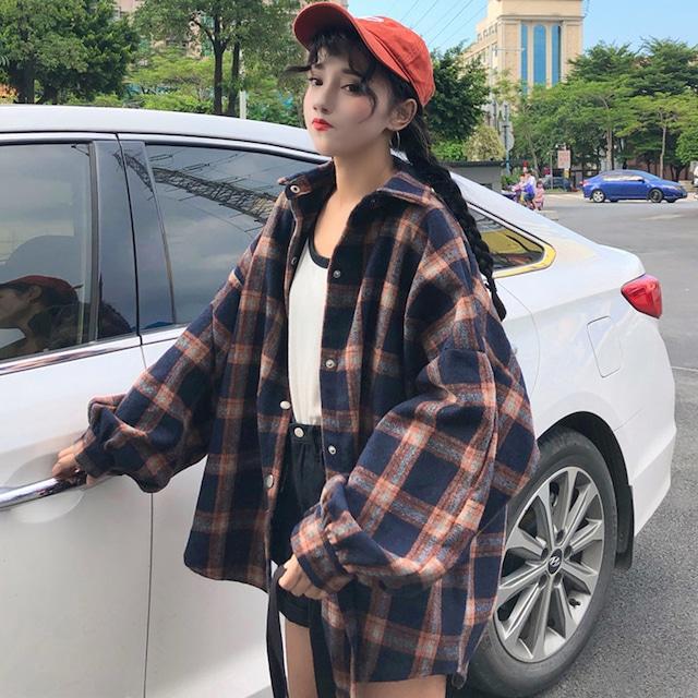 【トップス】カジュアルチェック柄長袖POLOネックシングルブレストシャツ18141316
