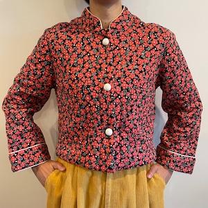 花柄 キルティング レトロ ショート丈 ジャケット