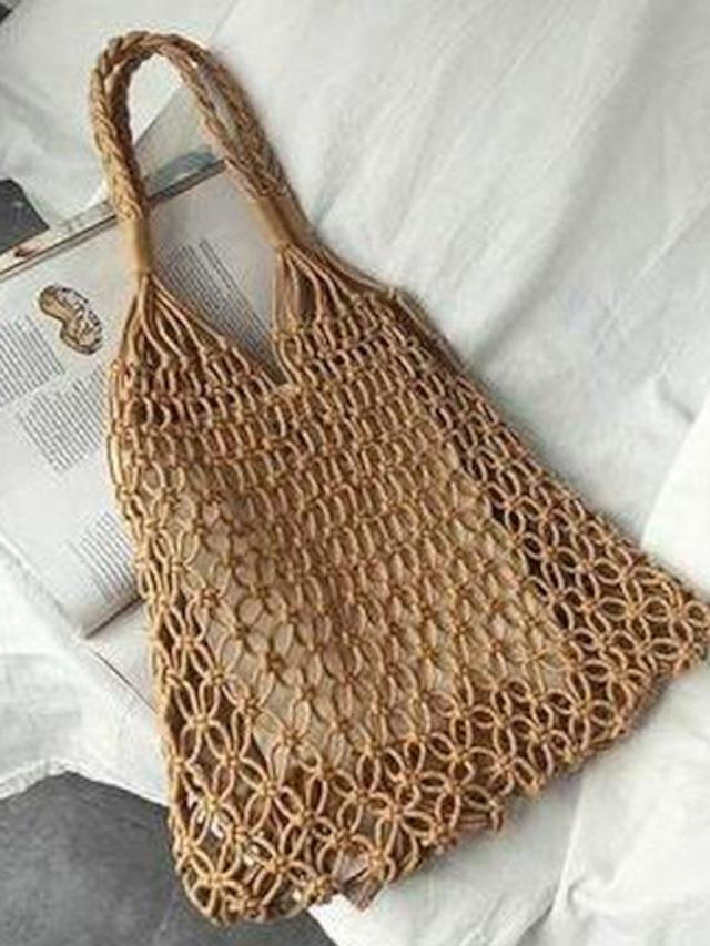 4色 サマー ネット 編み トートバッグ