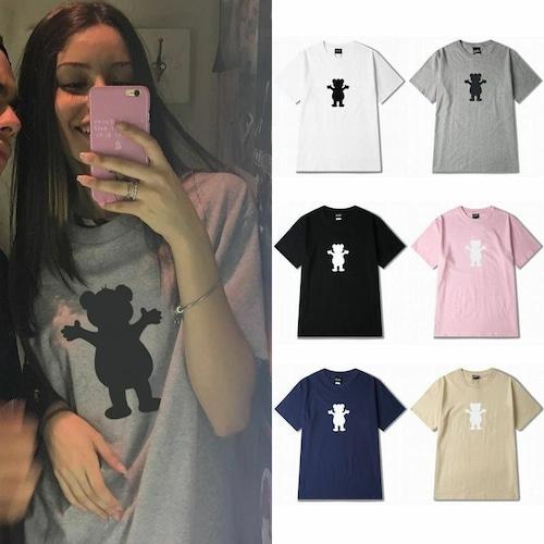 【★送料無料★】 6カラー ユニセックス クマプリントTシャツ 韓国ファッション メンズ レディース 半袖 ストリート系 DCT-546718625465