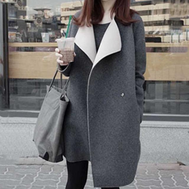 【アウター】ファッションカジュアルフェミニン切り替え折り襟コート43007472
