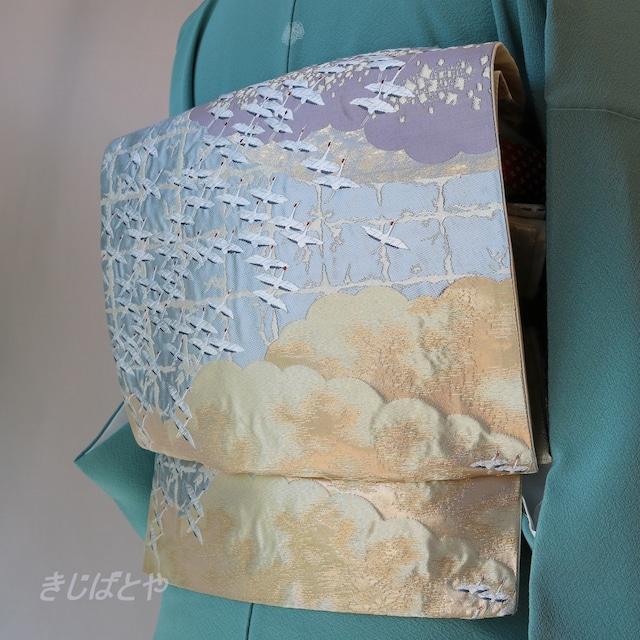 正絹紬 インディゴにベージュの縞のなごや