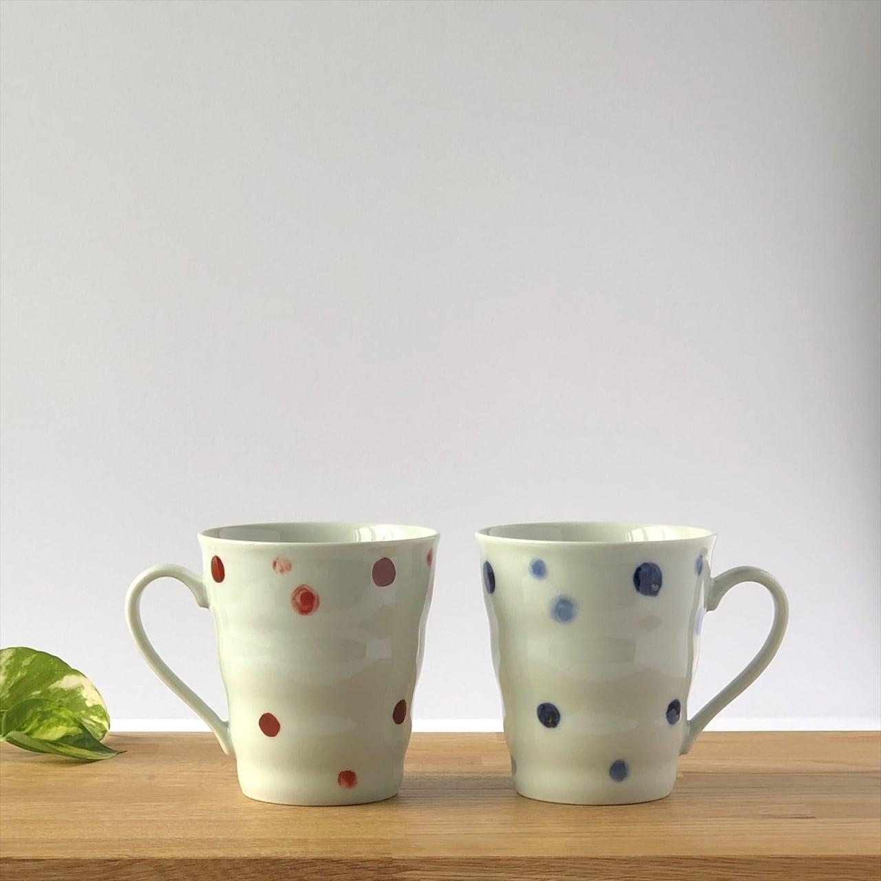 有田焼【for you】おそろいマグカップ 水玉 (赤Or青) 製造:江口製陶所