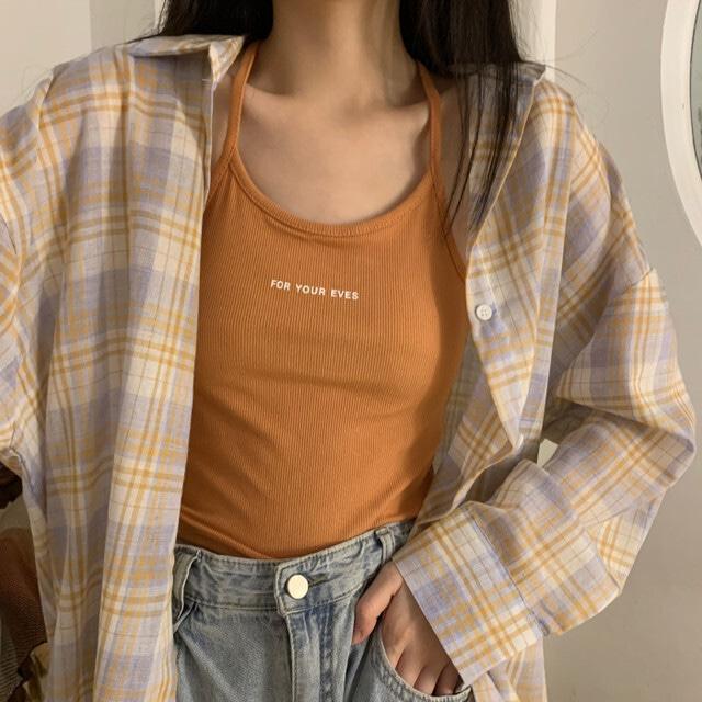 チェック柄シャツ+ニットキャミソール