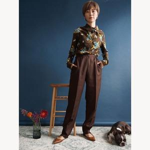 【送料無料】70's Vintage Brown Flower Print Shirt