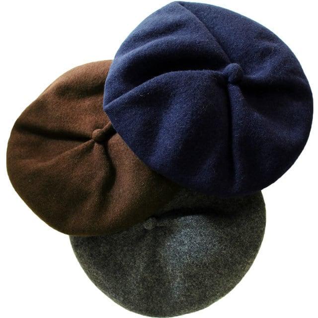 ISLAND KNIT WORKS (アイランドニットワークス) 強縮ウール タック入りベレー帽