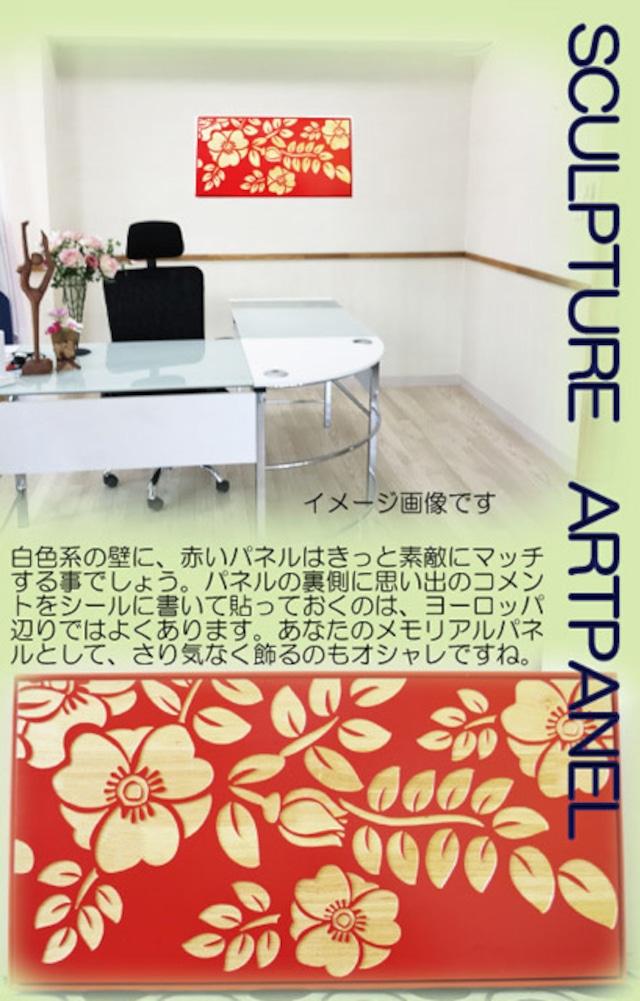ウッドスカルプチャー 赤花 ウッドアートパネル 絵画 壁掛け 木製 アジアン雑貨 インテリア 30*60
