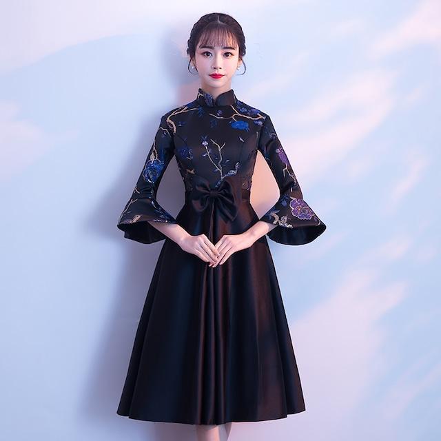 チャイナドレス ロング丈 ドレス ワンピース エレガント ブラック 黒い 刺繍入り スピーカースリーブ スタンドネック 二次会 パーディー 大きいサイズ SS S M L LL 3L