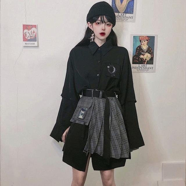 【セット】「単品注文」個性派ストリート系長袖POLOネックシャツ+スカート22597614