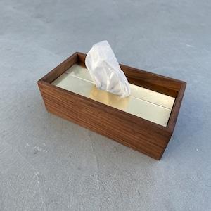 ティッシュボックス :Wood(ウォルナット)× 真鍮(無垢)