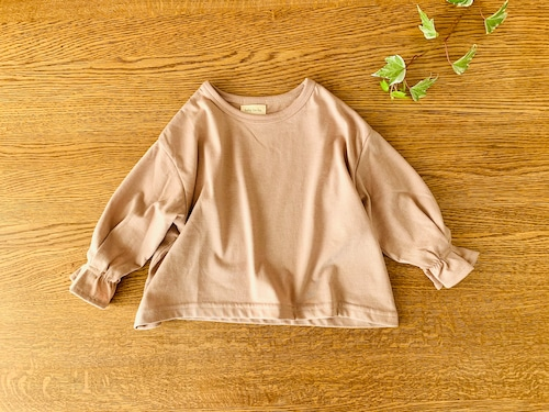 ボリュームスリーブの長袖シャツ・ピンク 85cm~90cm