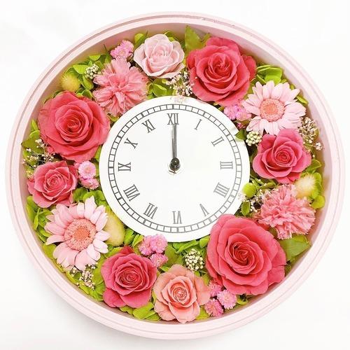 プリザーブドフラワー  花時計 【フレッシュ花時計・ピンク】 フラワー時計 ピンク 時計 壁掛け時計 置き時計