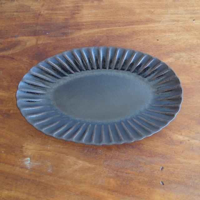 松尾直樹|鉄釉 輪花楕円鉢M