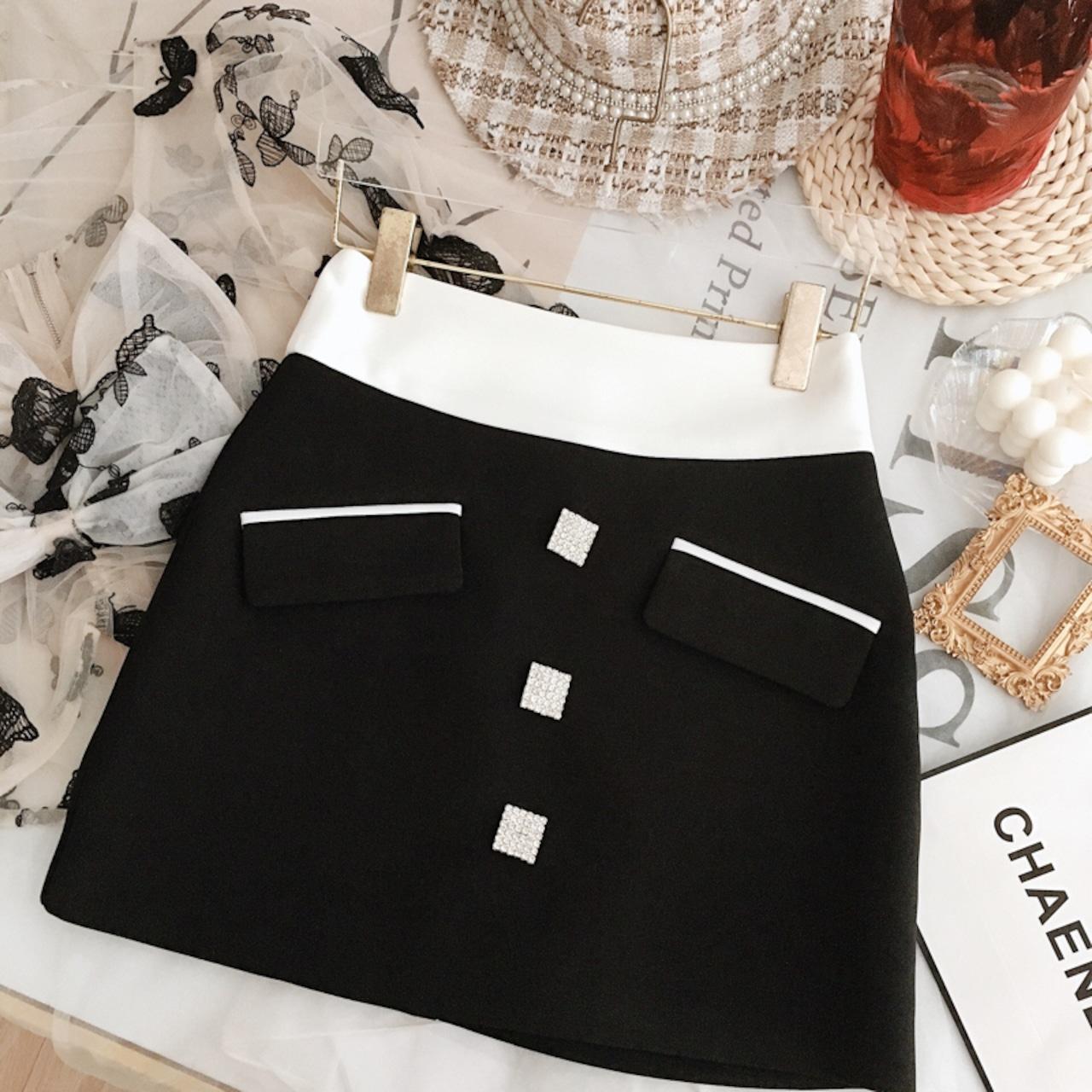 レトロモノトーン配色スカート