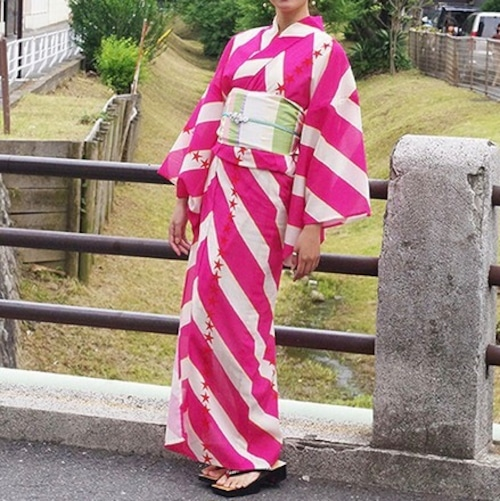浴衣【ボーダースター】ピンク