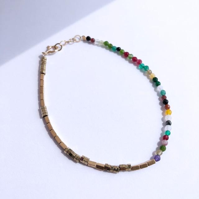 K10YG Multi Jade & Pyrite Bracelet / チャリティージュエリー
