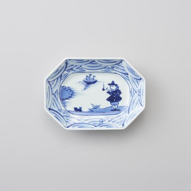 """【青花】""""長崎紋"""" 八角長角取皿"""