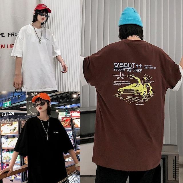 ユニセックス 半袖 Tシャツ メンズ レディース 英字 スーパーカー バックプリント オーバーサイズ 大きいサイズ ルーズ ストリート TBN-613654721522