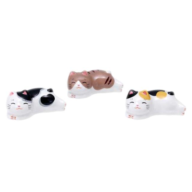 【開運招福】おめでたい縁起置物「なつかし屋」猫町ねこ箸置きセット(まったりトリオ)