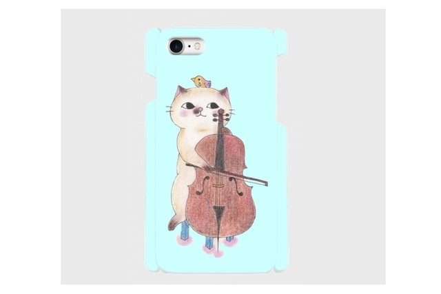 (iPhone用)チェロ猫のスマホケース