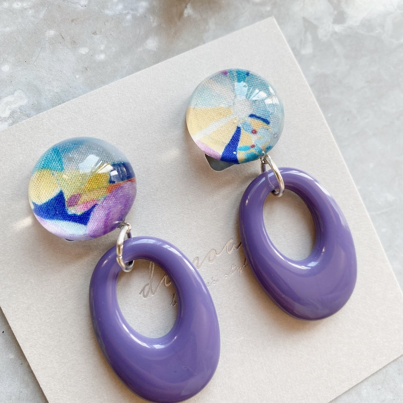 """ Earrings NO.danoan-139″ リバティパープルループ"