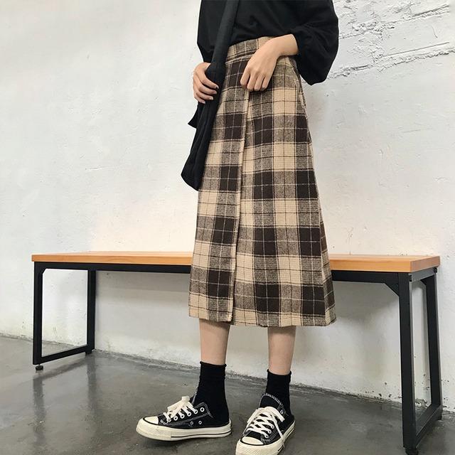 【ボトムス】レトロチェック柄すね丈スカート42919936