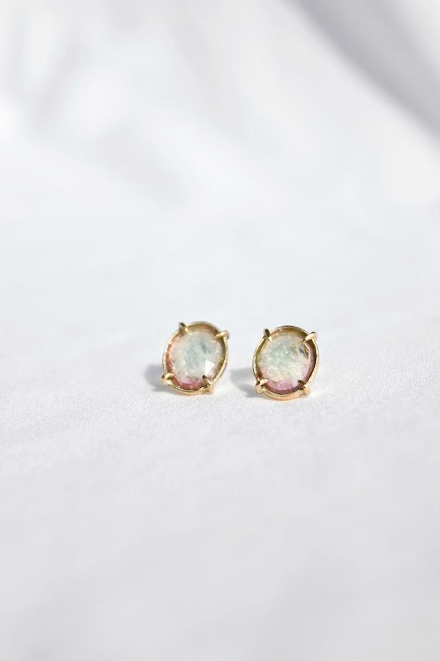 K10 Bi-color Tourmaline Studs Earrings 10金バイカラートルマリンスタッズピアス(ブルー&ピンク)